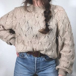 VTG eyelet sweater delicate oversized knit sweater